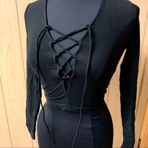 Black lace front crop top